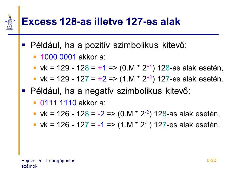 Fejezet: 5. - Lebegőpontos számok 5-20 Excess 128-as illetve 127-es alak  Például, ha a pozitív szimbolikus kitevő:  1000 0001 akkor a:  vk = 129 -