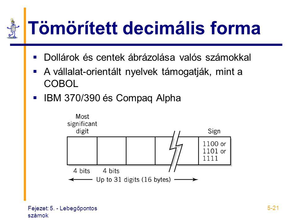 Fejezet: 5. - Lebegőpontos számok 5-21 Tömörített decimális forma  Dollárok és centek ábrázolása valós számokkal  A vállalat-orientált nyelvek támog