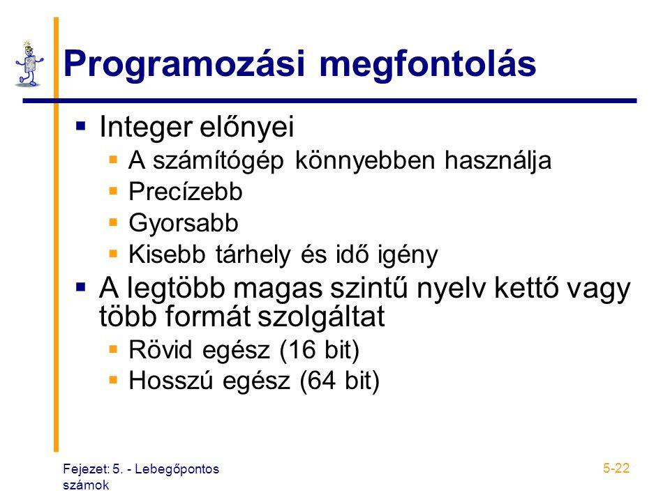Fejezet: 5. - Lebegőpontos számok 5-22 Programozási megfontolás  Integer előnyei  A számítógép könnyebben használja  Precízebb  Gyorsabb  Kisebb