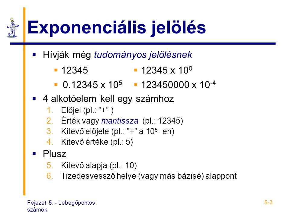 """Fejezet: 5. - Lebegőpontos számok 5-3 Exponenciális jelölés  Hívják még tudományos jelölésnek  4 alkotóelem kell egy számhoz 1.Előjel (pl.: """"+"""" ) 2."""