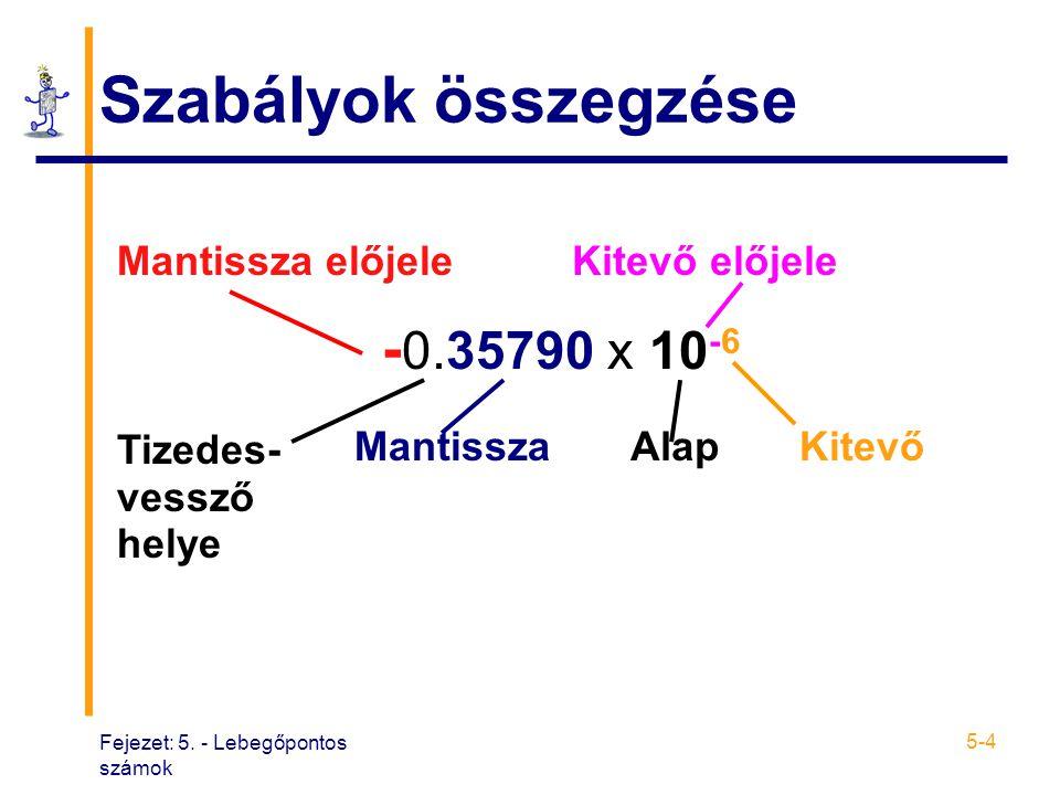 Fejezet: 5. - Lebegőpontos számok 5-4 Szabályok összegzése Mantissza előjeleKitevő előjele - 0.35790 x 10 -6 Tizedes- vessző helye MantisszaAlapKitevő