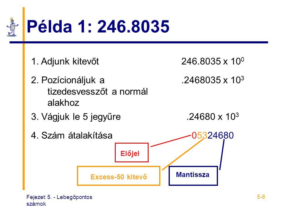 Fejezet: 5. - Lebegőpontos számok 5-8 Példa 1: 246.8035 1. Adjunk kitevőt246.8035 x 10 0 2. Pozícionáljuk a tizedesvesszőt a normál alakhoz.2468035 x