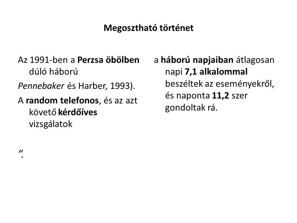 Megosztható történet Az 1991-ben a Perzsa öbölben dúló háború Pennebaker és Harber, 1993).