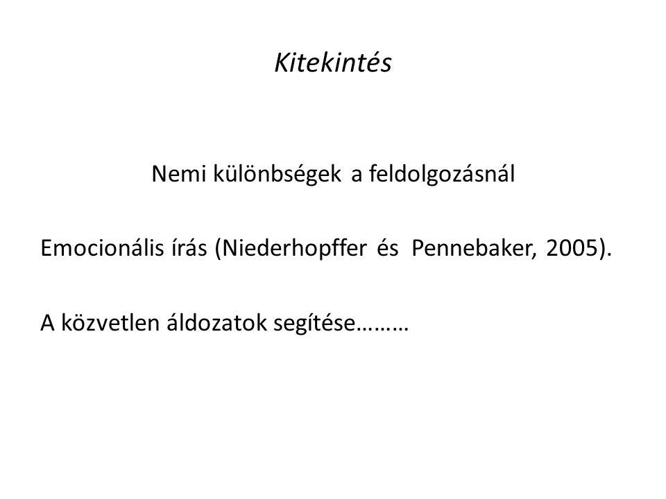 Kitekintés Nemi különbségek a feldolgozásnál Emocionális írás (Niederhopffer és Pennebaker, 2005).