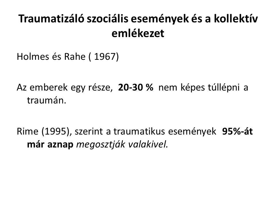 Traumatizáló szociális események és a kollektív emlékezet Holmes és Rahe ( 1967) Az emberek egy része, 20-30 % nem képes túllépni a traumán.