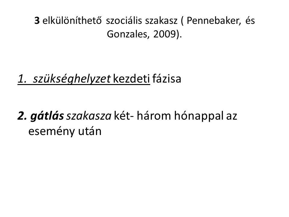 3 elkülöníthető szociális szakasz ( Pennebaker, és Gonzales, 2009).