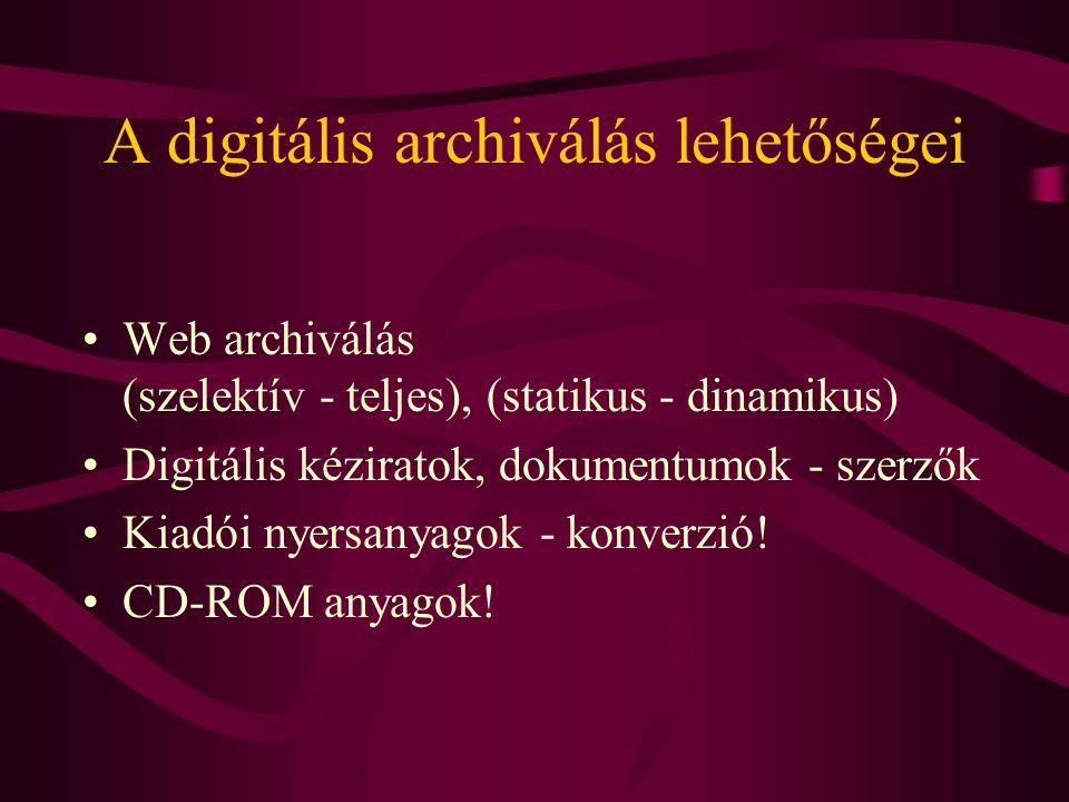 A digitális archiválás lehetőségei •Web archiválás (szelektív - teljes), (statikus - dinamikus) •Digitális kéziratok, dokumentumok - szerzők •Kiadói n