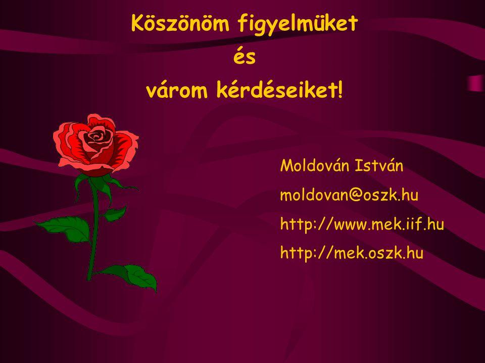 Köszönöm figyelmüket és várom kérdéseiket! Moldován István moldovan@oszk.hu http://www.mek.iif.hu http://mek.oszk.hu