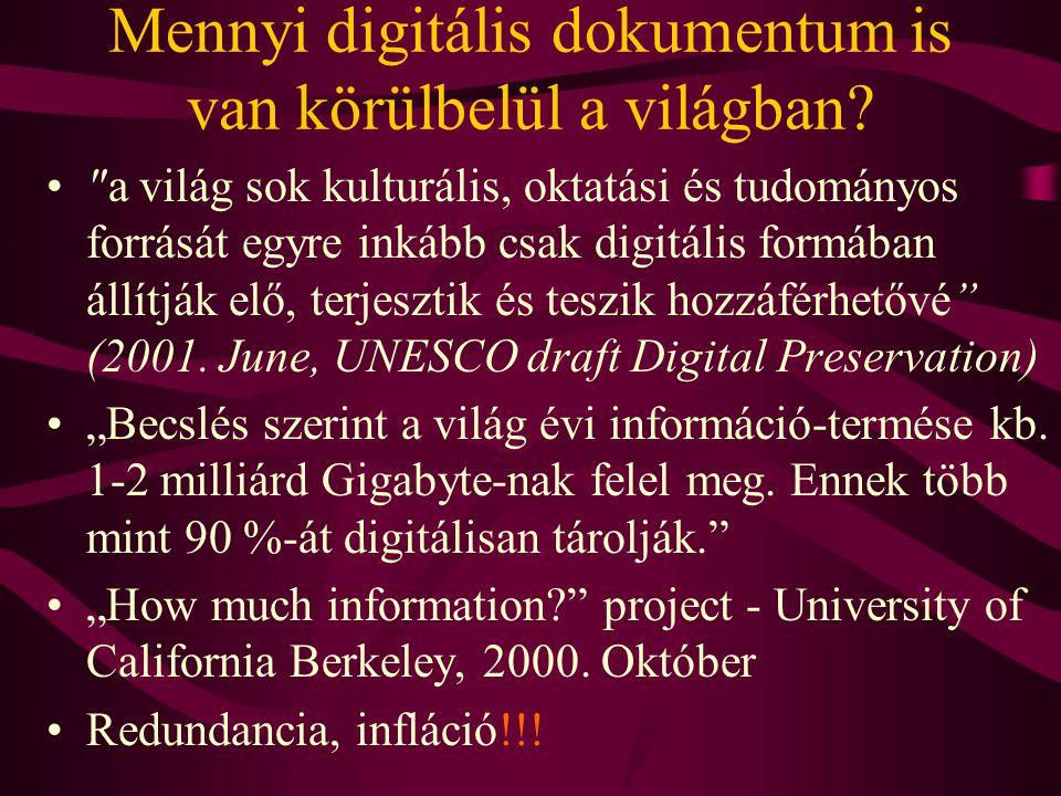 Mennyi digitális dokumentum is van körülbelül a világban? •