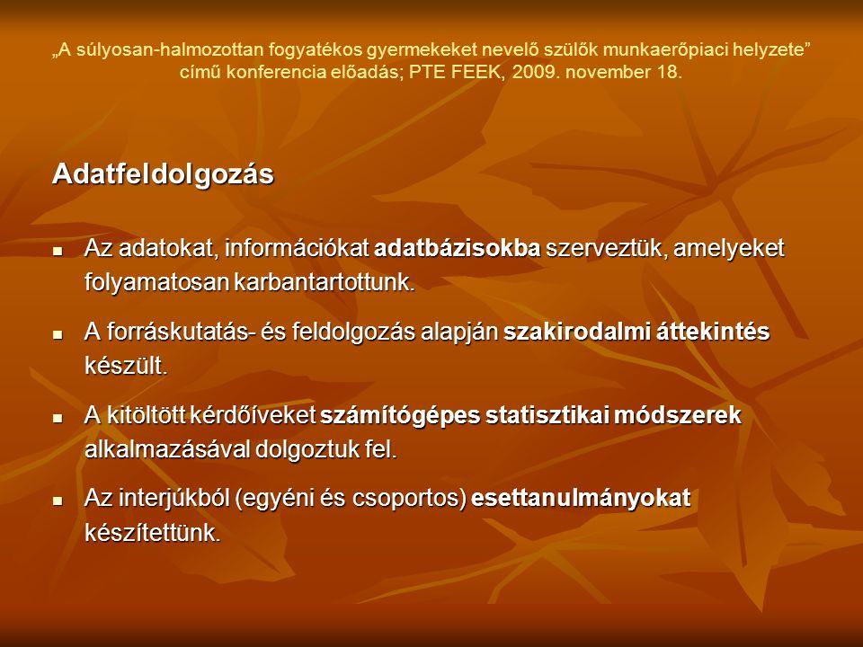 """""""A súlyosan-halmozottan fogyatékos gyermekeket nevelő szülők munkaerőpiaci helyzete"""" című konferencia előadás; PTE FEEK, 2009. november 18. Adatfeldol"""