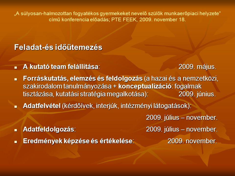 """""""A súlyosan-halmozottan fogyatékos gyermekeket nevelő szülők munkaerőpiaci helyzete"""" című konferencia előadás; PTE FEEK, 2009. november 18. Feladat-és"""