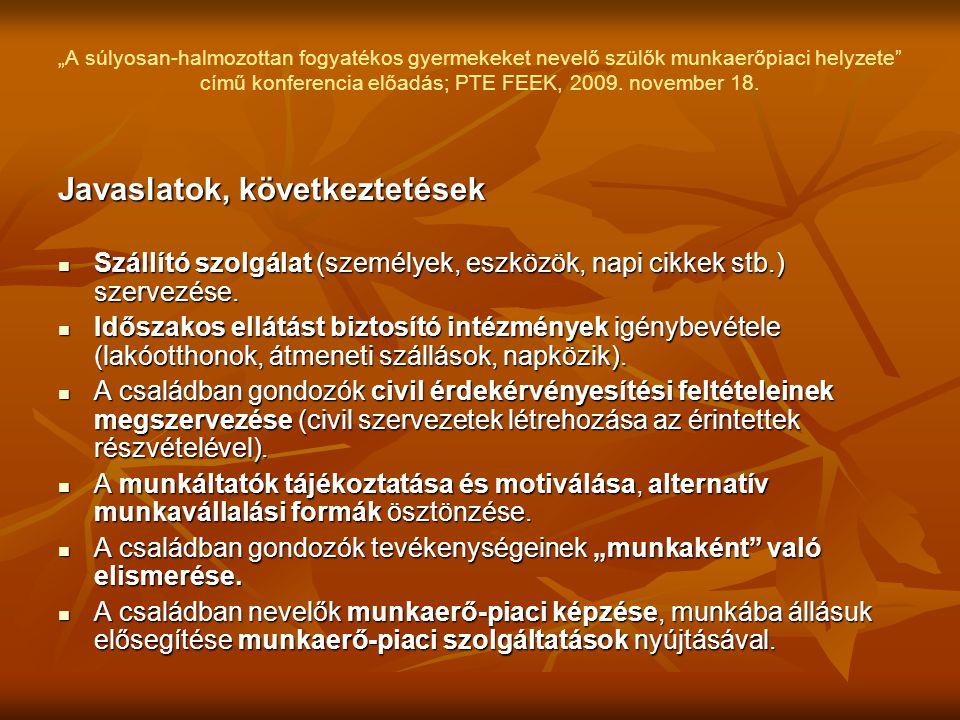 """""""A súlyosan-halmozottan fogyatékos gyermekeket nevelő szülők munkaerőpiaci helyzete"""" című konferencia előadás; PTE FEEK, 2009. november 18. Javaslatok"""