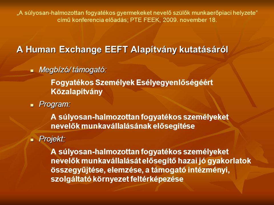 """""""A súlyosan-halmozottan fogyatékos gyermekeket nevelő szülők munkaerőpiaci helyzete"""" című konferencia előadás; PTE FEEK, 2009. november 18. A Human Ex"""