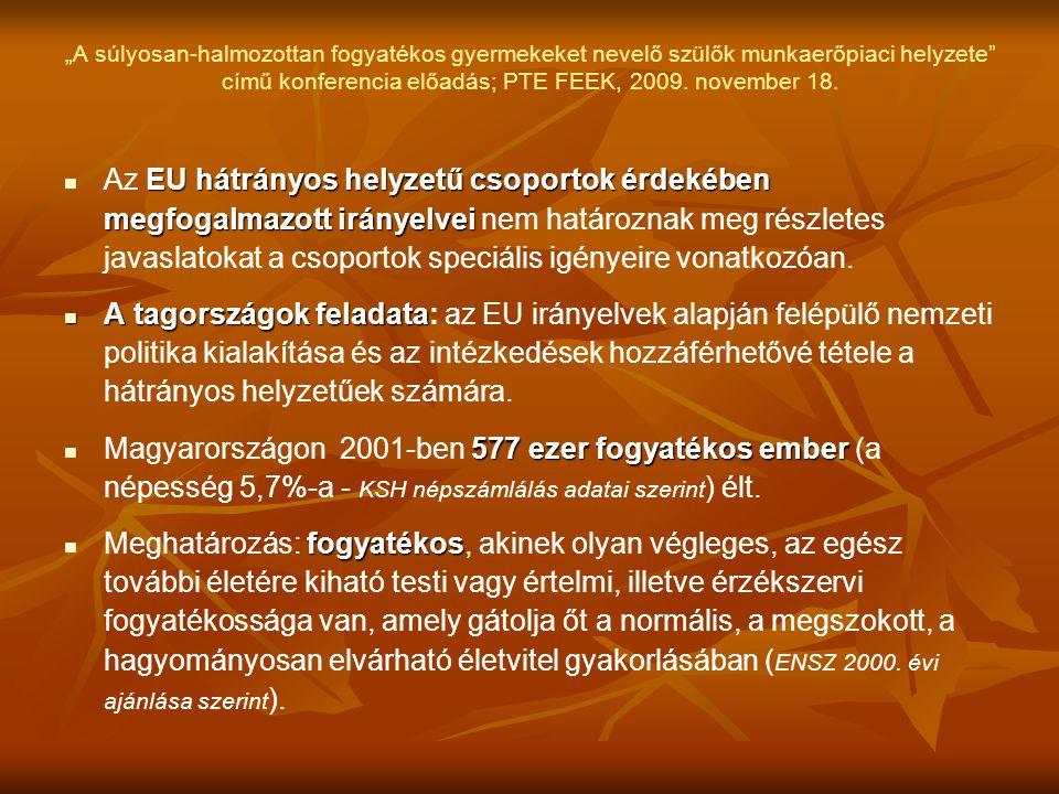 """""""A súlyosan-halmozottan fogyatékos gyermekeket nevelő szülők munkaerőpiaci helyzete"""" című konferencia előadás; PTE FEEK, 2009. november 18.  EU hátrá"""