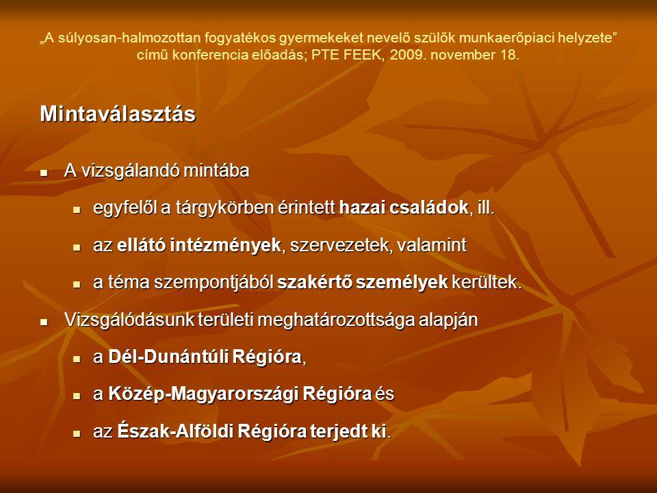"""""""A súlyosan-halmozottan fogyatékos gyermekeket nevelő szülők munkaerőpiaci helyzete"""" című konferencia előadás; PTE FEEK, 2009. november 18. Mintaválas"""