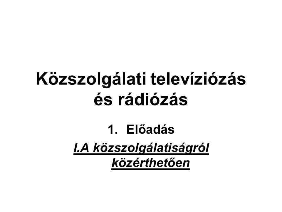 Közszolgálati televíziózás és rádiózás 1.Előadás I.A közszolgálatiságról közérthetően