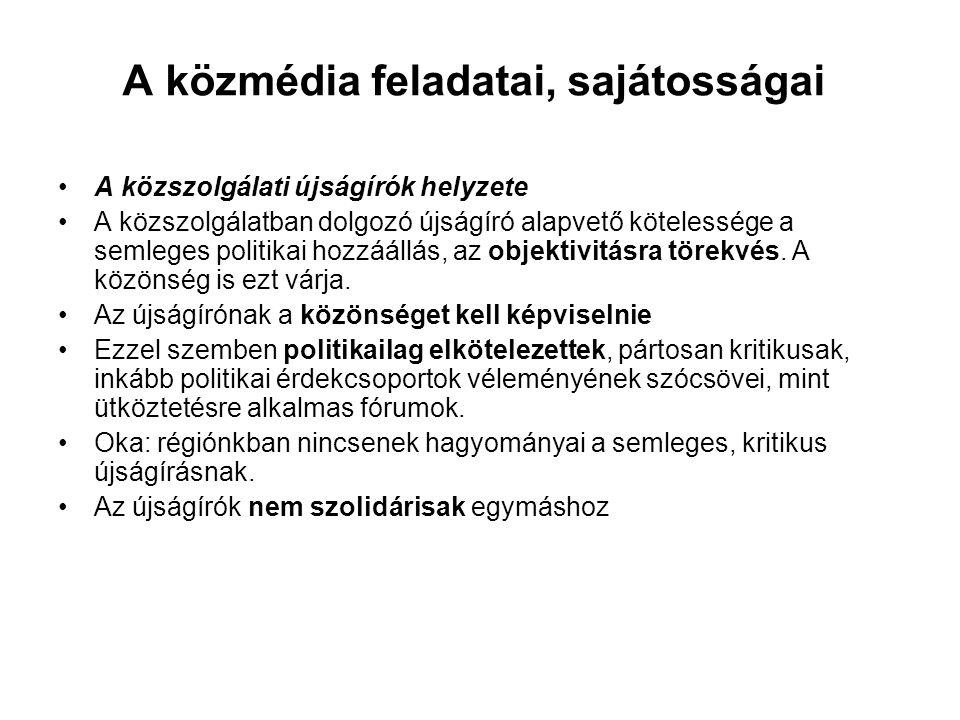 A közmédia feladatai, sajátosságai •A közszolgálati újságírók helyzete •A közszolgálatban dolgozó újságíró alapvető kötelessége a semleges politikai h