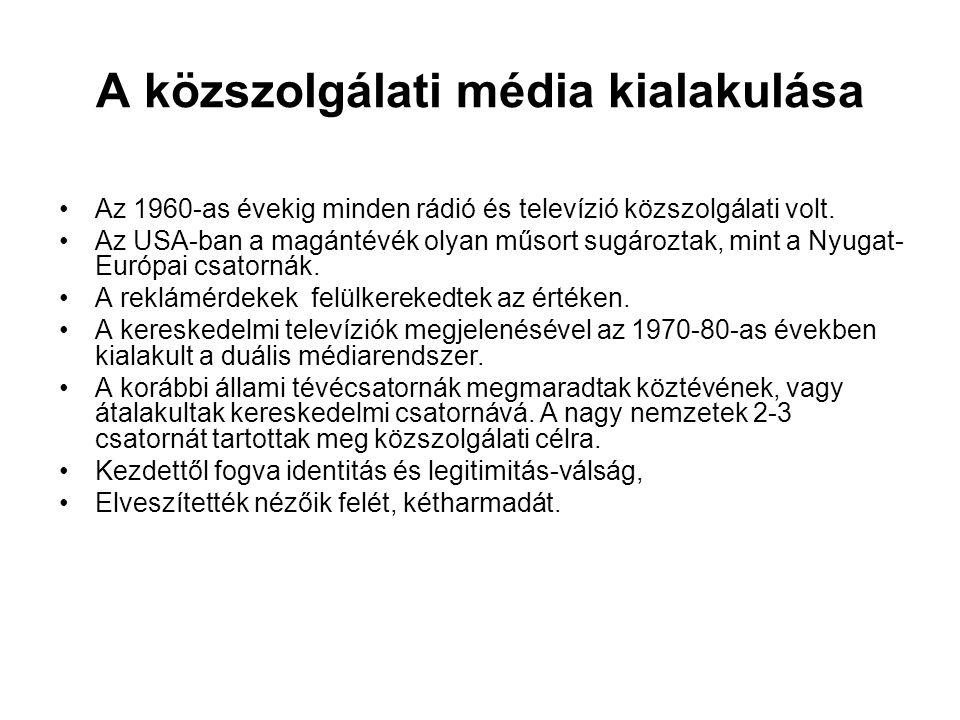 A közszolgálati média kialakulása •Az 1960-as évekig minden rádió és televízió közszolgálati volt. •Az USA-ban a magántévék olyan műsort sugároztak, m