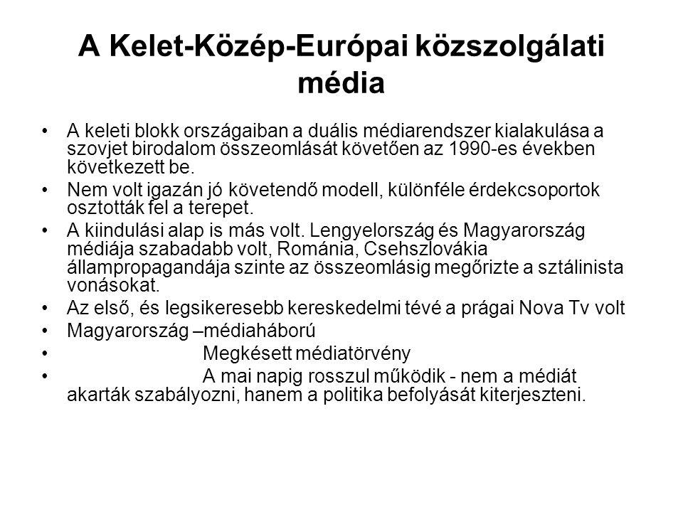 A Kelet-Közép-Európai közszolgálati média •A keleti blokk országaiban a duális médiarendszer kialakulása a szovjet birodalom összeomlását követően az