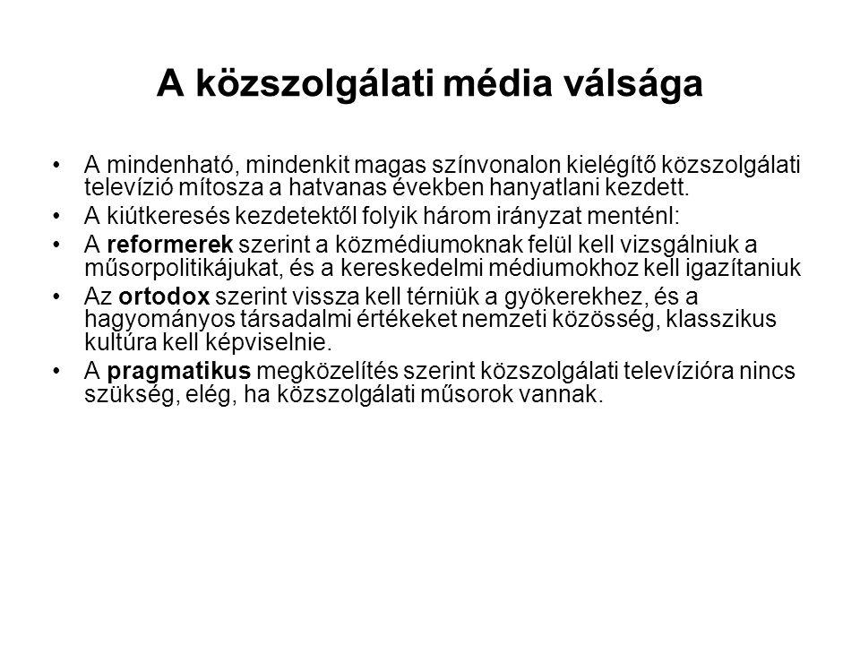 A hazai közszolgálati médiumok •Közszolgálati televíziók: Magyar Televízió, M1, M2, Duna Televízió, Duna, Autonómia •Közszolgálati rádiók: •Magyar Rádió •Országos adók: MR1 Kossuth, MR2 Petőfi, MR3 Bartók •Körzeti adók: a Magyar Rádió regionális stúdiói, Fehérvár Rádió, Debreceni Civis Rádió, Zala Rádió •körzeti közrádiók: Magyar Katolikus Rádió, Gazdasági Rádió •Magyar Távirati Iroda •Sajátos a helyzete, nagyobb, szigorúan behatárolt feladatköre van.