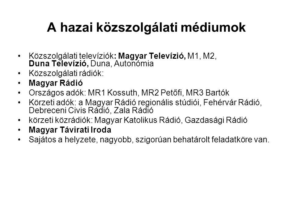 A hazai közszolgálati médiumok •Közszolgálati televíziók: Magyar Televízió, M1, M2, Duna Televízió, Duna, Autonómia •Közszolgálati rádiók: •Magyar Rád