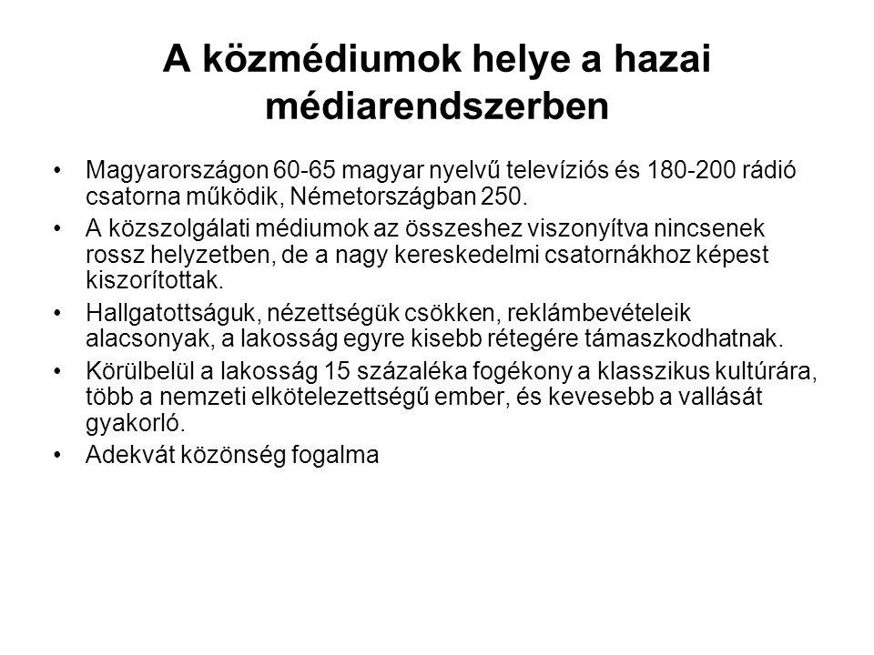A közmédiumok helye a hazai médiarendszerben •Magyarországon 60-65 magyar nyelvű televíziós és 180-200 rádió csatorna működik, Németországban 250. •A