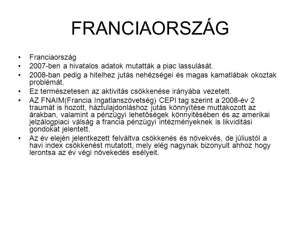 FRANCIAORSZÁG •Franciaország •2007-ben a hivatalos adatok mutatták a piac lassulását.