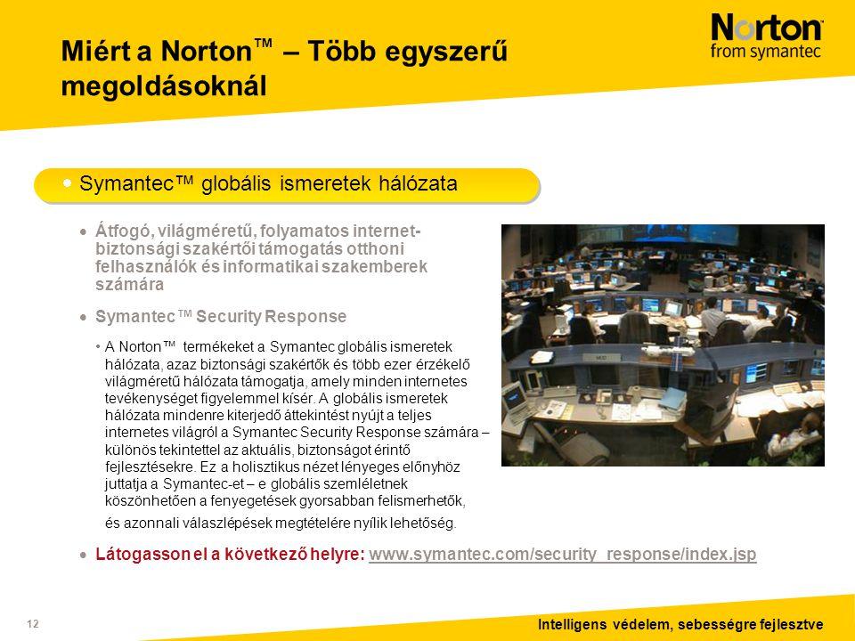 Intelligens védelem, sebességre fejlesztve 12 Miért a Norton ™ – Több egyszerű megoldásoknál  Symantec™ globális ismeretek hálózata  Átfogó, világméretű, folyamatos internet- biztonsági szakértői támogatás otthoni felhasználók és informatikai szakemberek számára  Symantec™ Security Response • A Norton™ termékeket a Symantec globális ismeretek hálózata, azaz biztonsági szakértők és több ezer érzékelő világméretű hálózata támogatja, amely minden internetes tevékenységet figyelemmel kísér.
