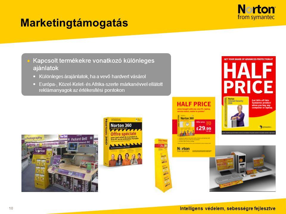 Intelligens védelem, sebességre fejlesztve 18 Marketingtámogatás  Kapcsolt termékekre vonatkozó különleges ajánlatok  Különleges árajánlatok, ha a vevő hardvert vásárol  Európa-, Közel-Kelet- és Afrika-szerte márkanévvel ellátott reklámanyagok az értékesítési pontokon