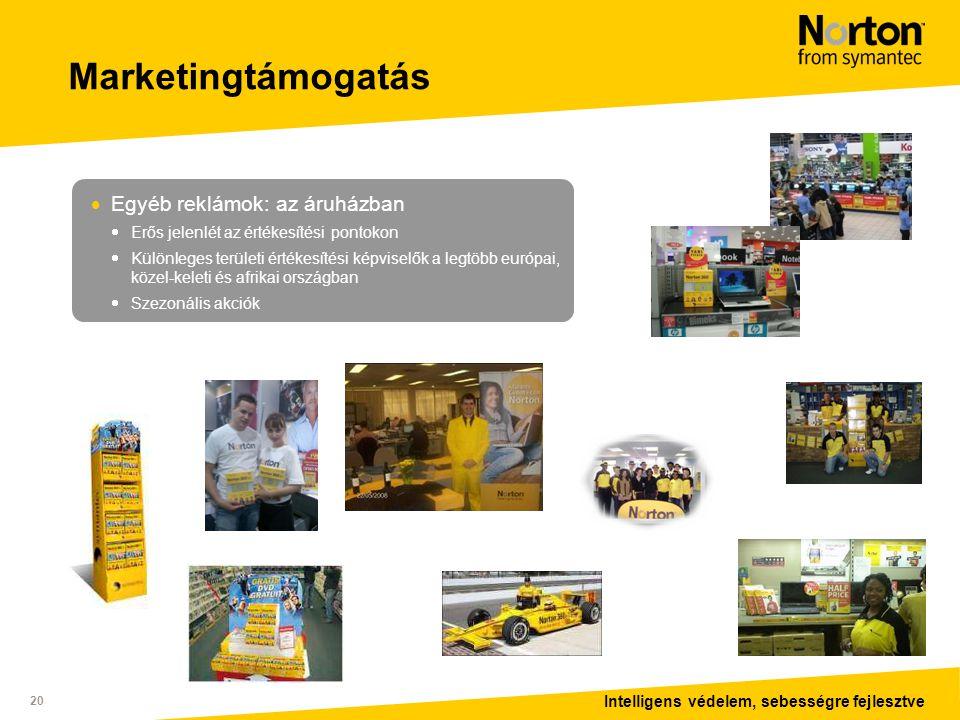 Intelligens védelem, sebességre fejlesztve 20 Marketingtámogatás  Egyéb reklámok: az áruházban  Erős jelenlét az értékesítési pontokon  Különleges területi értékesítési képviselők a legtöbb európai, közel-keleti és afrikai országban  Szezonális akciók