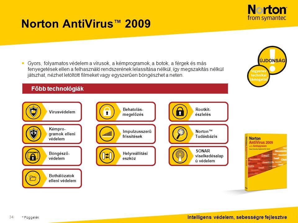 Intelligens védelem, sebességre fejlesztve 34 Norton AntiVirus ™ 2009  Gyors, folyamatos védelem a vírusok, a kémprogramok, a botok, a férgek és más fenyegetések ellen a felhasználó rendszerének lelassítása nélkül, így megszakítás nélkül játszhat, nézhet letöltött filmeket vagy egyszerűen böngészhet a neten.