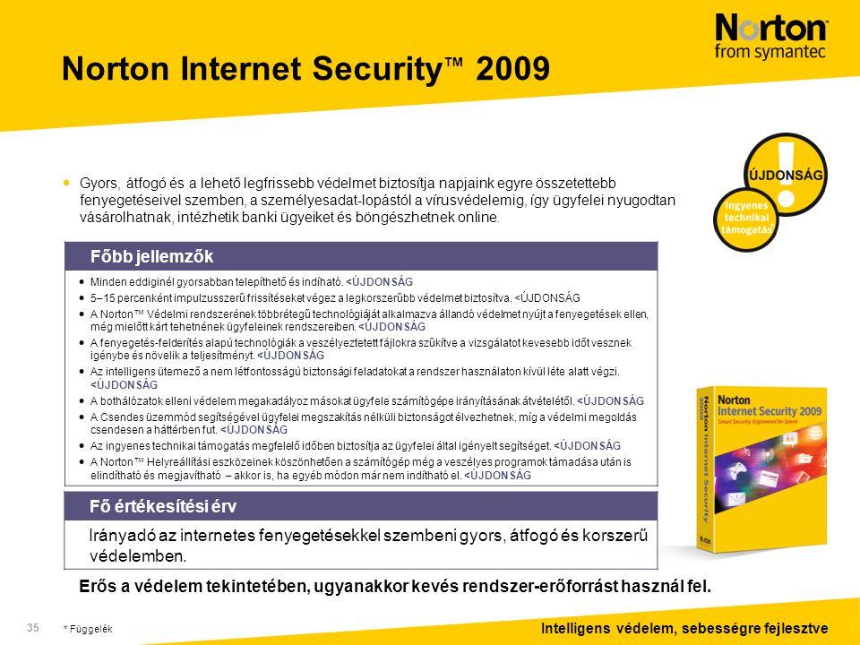 Intelligens védelem, sebességre fejlesztve 35 Norton Internet Security ™ 2009  Gyors, átfogó és a lehető legfrissebb védelmet biztosítja napjaink egyre összetettebb fenyegetéseivel szemben, a személyesadat-lopástól a vírusvédelemig, így ügyfelei nyugodtan vásárolhatnak, intézhetik banki ügyeiket és böngészhetnek online.