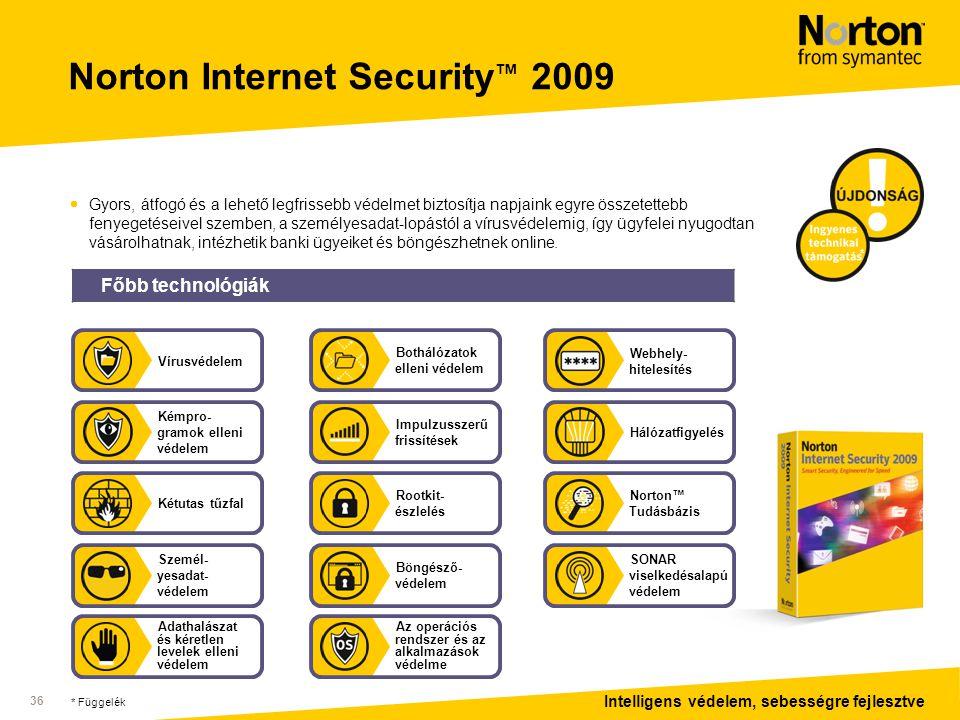 Intelligens védelem, sebességre fejlesztve 36 Norton Internet Security ™ 2009  Gyors, átfogó és a lehető legfrissebb védelmet biztosítja napjaink egyre összetettebb fenyegetéseivel szemben, a személyesadat-lopástól a vírusvédelemig, így ügyfelei nyugodtan vásárolhatnak, intézhetik banki ügyeiket és böngészhetnek online.
