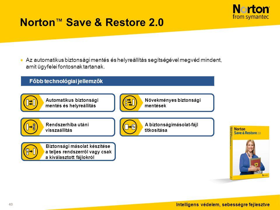 Intelligens védelem, sebességre fejlesztve 40 Norton ™ Save & Restore 2.0  Az automatikus biztonsági mentés és helyreállítás segítségével megvéd mindent, amit ügyfelei fontosnak tartanak.