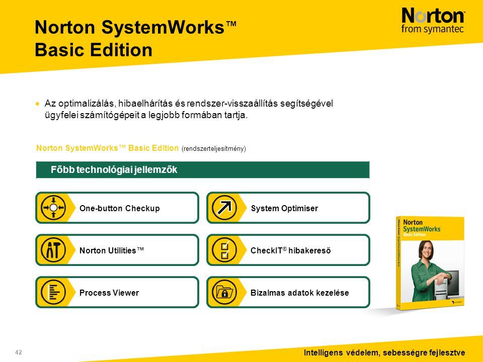 Intelligens védelem, sebességre fejlesztve 42 Norton SystemWorks™ Basic Edition (rendszerteljesítmény) Norton SystemWorks ™ Basic Edition  Az optimalizálás, hibaelhárítás és rendszer-visszaállítás segítségével ügyfelei számítógépeit a legjobb formában tartja.