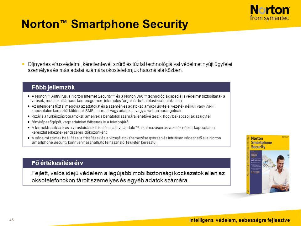 Intelligens védelem, sebességre fejlesztve 45 Norton ™ Smartphone Security  Díjnyertes vírusvédelmi, kéretlenlevél-szűrő és tűzfal technológiáival védelmet nyújt ügyfelei személyes és más adatai számára okostelefonjuk használata közben.