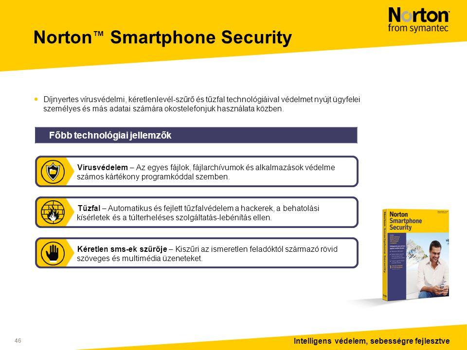 Intelligens védelem, sebességre fejlesztve 46 Norton ™ Smartphone Security  Díjnyertes vírusvédelmi, kéretlenlevél-szűrő és tűzfal technológiáival védelmet nyújt ügyfelei személyes és más adatai számára okostelefonjuk használata közben.