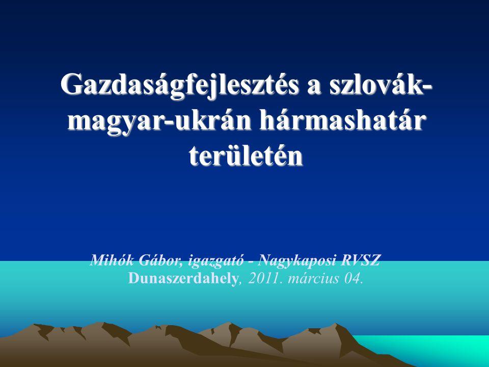 Gazdaságfejlesztés a szlovák- magyar-ukrán hármashatár területén Mihók Gábor, igazgató - Nagykaposi RVSZ Dunaszerdahely, 2011.