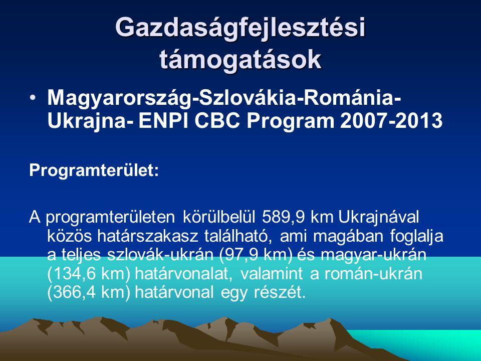 Gazdaságfejlesztési támogatások •Magyarország-Szlovákia-Románia- Ukrajna- ENPI CBC Program 2007-2013 Programterület: A programterületen körülbelül 589,9 km Ukrajnával közös határszakasz található, ami magában foglalja a teljes szlovák-ukrán (97,9 km) és magyar-ukrán (134,6 km) határvonalat, valamint a román-ukrán (366,4 km) határvonal egy részét.