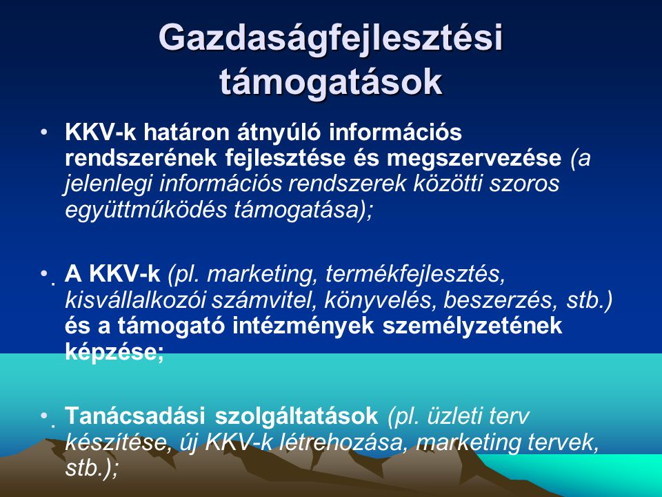 Gazdaságfejlesztési támogatások •KKV-k határon átnyúló információs rendszerének fejlesztése és megszervezése (a jelenlegi információs rendszerek közötti szoros együttműködés támogatása); •A KKV-k (pl.