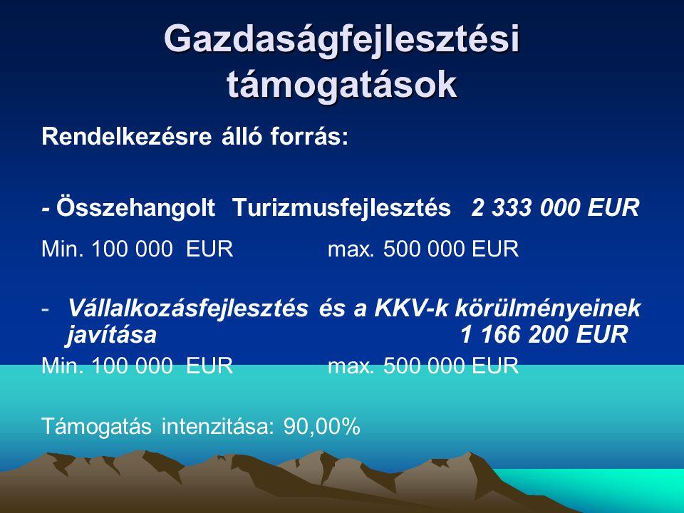 Gazdaságfejlesztési támogatások Rendelkezésre álló forrás: - Összehangolt Turizmusfejlesztés 2 333 000 EUR Min.