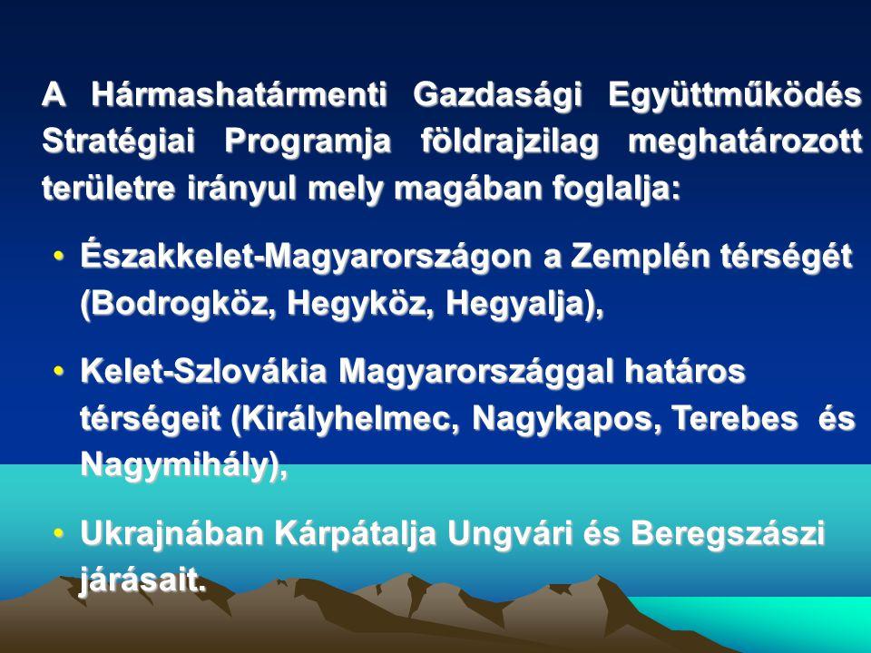 A Hármashatármenti Gazdasági Együttműködés Stratégiai Programja földrajzilag meghatározott területre irányul mely magában foglalja: •Északkelet-Magyarországon a Zemplén térségét (Bodrogköz, Hegyköz, Hegyalja), •Kelet-Szlovákia Magyarországgal határos térségeit (Királyhelmec, Nagykapos, Terebes és Nagymihály), •Ukrajnában Kárpátalja Ungvári és Beregszászi járásait.