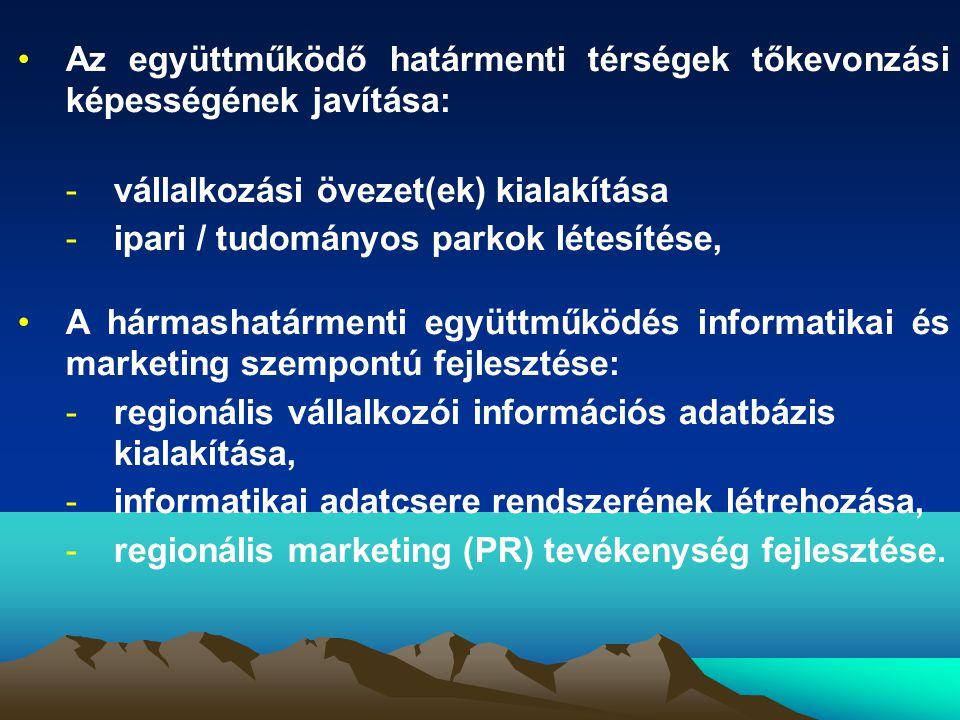 •Az együttműködő határmenti térségek tőkevonzási képességének javítása: -vállalkozási övezet(ek) kialakítása -ipari / tudományos parkok létesítése, •A hármashatármenti együttműködés informatikai és marketing szempontú fejlesztése: -regionális vállalkozói információs adatbázis kialakítása, -informatikai adatcsere rendszerének létrehozása, -regionális marketing (PR) tevékenység fejlesztése.