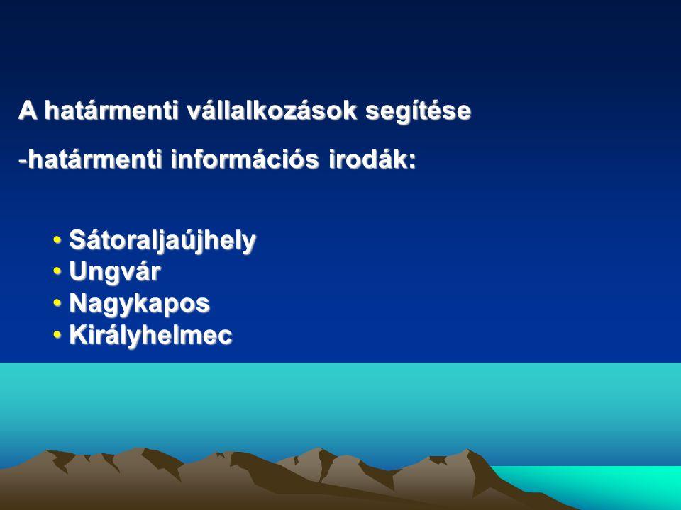 A határmenti vállalkozások segítése -határmenti információs irodák: • Sátoraljaújhely • Ungvár • Nagykapos • Királyhelmec