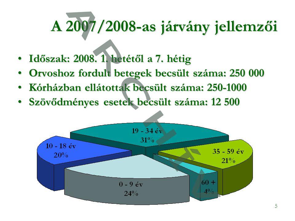 5 A 2007/2008-as járvány jellemzői •Időszak: 2008.