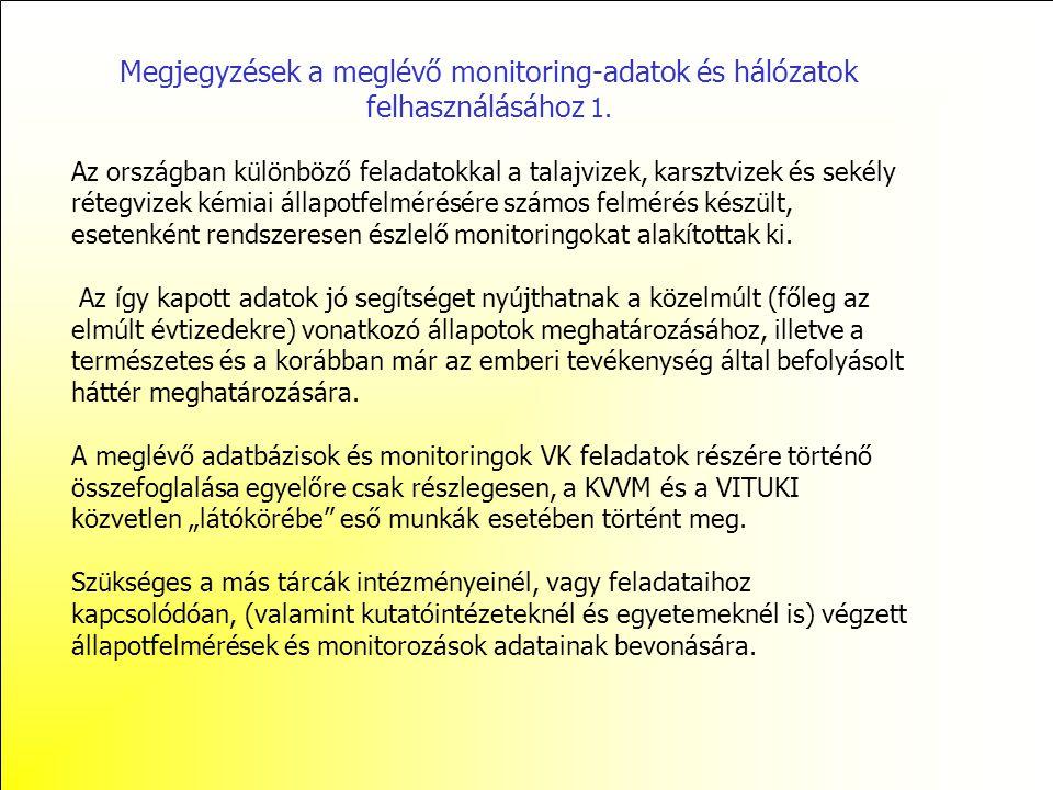 Megjegyzések a meglévő monitoring-adatok és hálózatok felhasználásához 2.