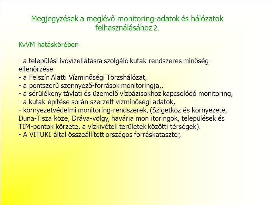 Megjegyzések a meglévő monitoring-adatok és hálózatok felhasználásához 2. KvVM hatáskörében - a települési ivóvízellátásra szolgáló kutak rendszeres m