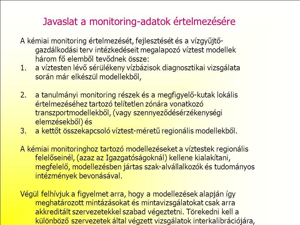 Javaslat a monitoring-adatok értelmezésére A kémiai monitoring értelmezését, fejlesztését és a vízgyűjtő- gazdálkodási terv intézkedéseit megalapozó v