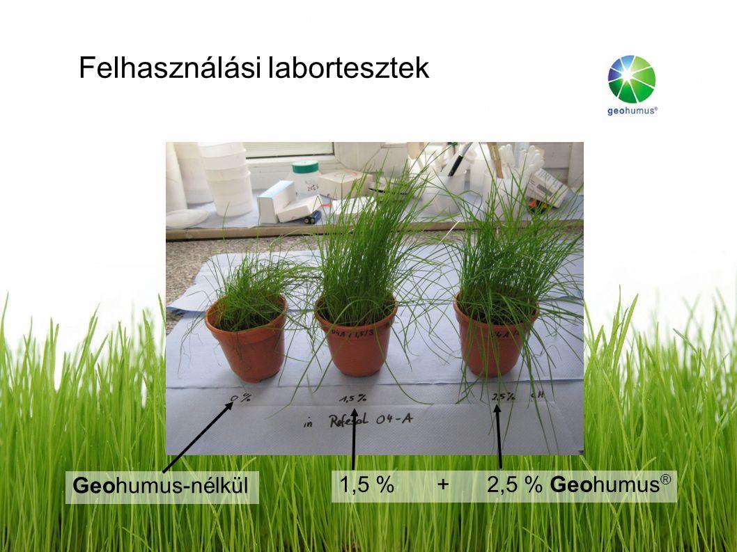 Felhasználási labortesztek Geohumus-nélkül 1,5 %+ 2,5 % Geohumus ®