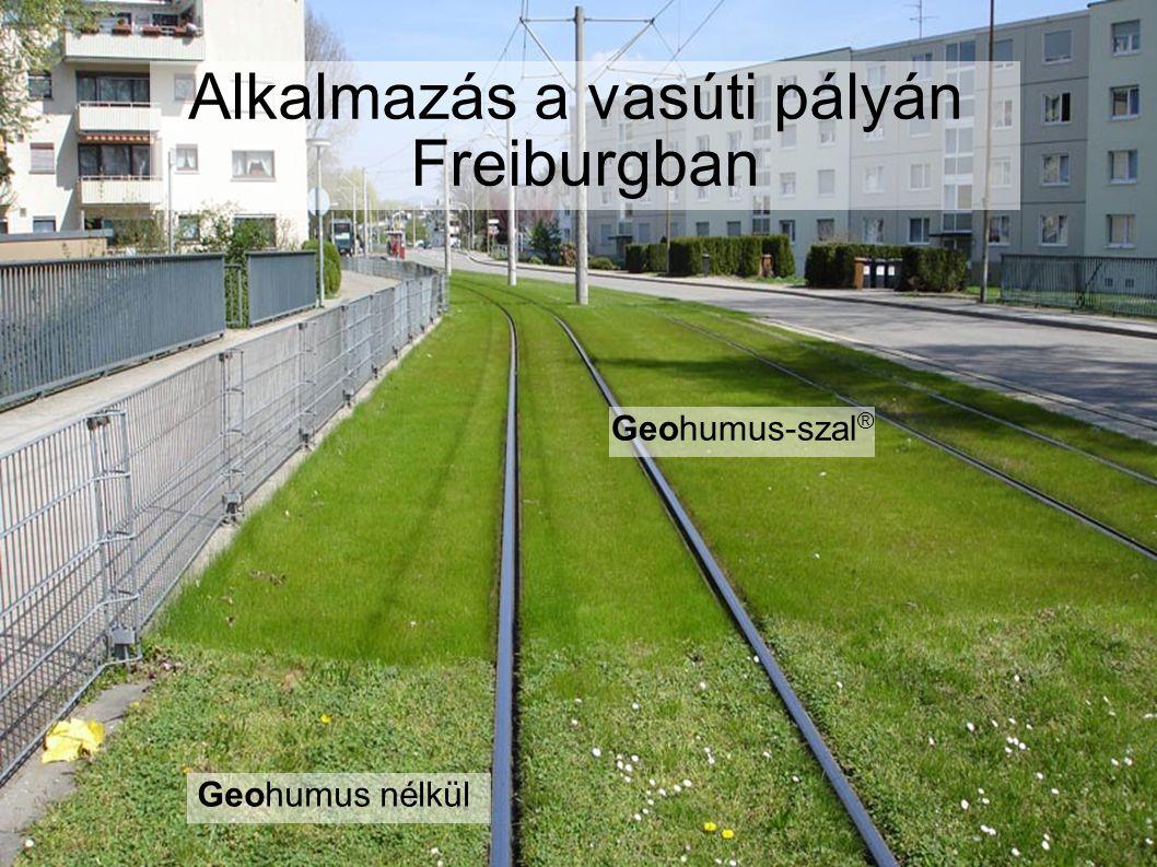 Alkalmazás a vasúti pályán Freiburgban Geohumus nélkül Geohumus-szal ®